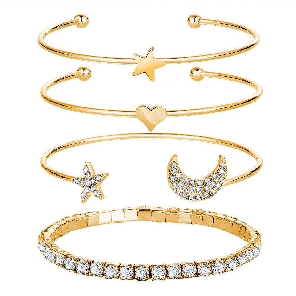 The New Fashion Simple Crystal Stars The Moon Four Bracelets Suit ... dadb417ce7ae
