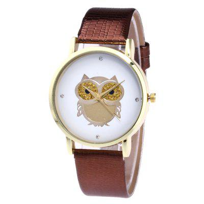 ZhouLianFa New Trendy Fashion Crocodile Pattern Leather Strap Gold Dial Business Casual Owl Quartz Watch