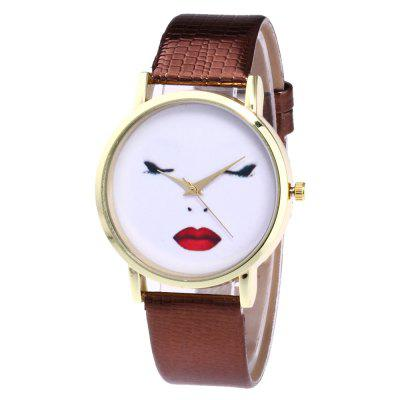 ZhouLianFa New Trendy Fashion Crocodile Pattern Gold Shy Figure Quartz Watch