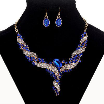 Women Luxury Diamond Jewelry Set Metal Necklace Earrings Bride Choker Girls Collar Gifts
