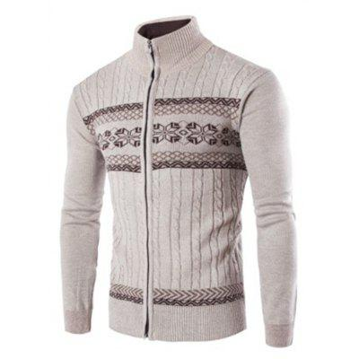 Buy OFF-WHITE L Men'S Sweater Jacquard Knit Long-Sleeved Cardigan Sweater for $27.07 in GearBest store