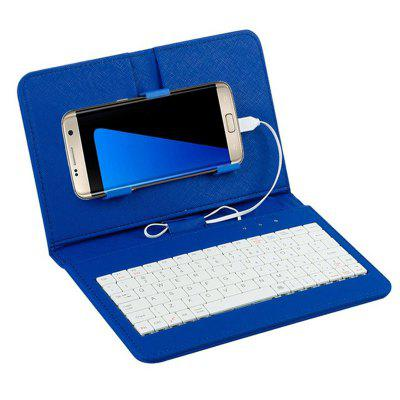 PU Leather Case Micro USB Wired Phone Keyboard Stand Cover para Samsung Huawei Xiaomi