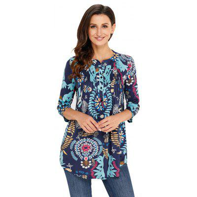 Floral Notch Neck Pin-tuck Tunic T-shirtTees<br>Floral Notch Neck Pin-tuck Tunic T-shirt<br><br>Collar: Round Neck<br>Elasticity: Micro-elastic<br>Embellishment: Vintage<br>Fabric Type: Non-woven Cloth<br>Material: Polyester<br>Package Contents: 1xTOP<br>Pattern Type: Floral<br>Shirt Length: Regular<br>Sleeve Length: Three Quarter<br>Style: Casual<br>Weight: 0.3300kg