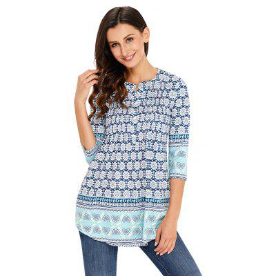 Floral Notch Neck Pin-tuck Tunic T-shirtTees<br>Floral Notch Neck Pin-tuck Tunic T-shirt<br><br>Collar: Round Neck<br>Elasticity: Micro-elastic<br>Embellishment: Vintage<br>Fabric Type: Non-woven Cloth<br>Material: Polyester<br>Package Contents: 1xTOP<br>Pattern Type: Floral<br>Shirt Length: Regular<br>Sleeve Length: Three Quarter<br>Style: Casual<br>Weight: 0.2200kg