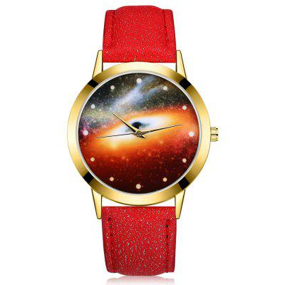 GAIETY G371 Women's Starry Sky Dial Leather Band Watches