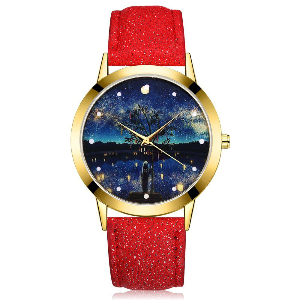 GAIETY G369 Women Watch Night Sky Dial Leather Band Quartz Watches