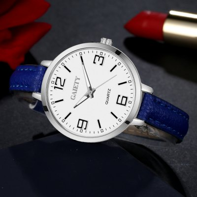 GAIETY G362 Women Watch Small Leather Band Fashion WatchesWomens Watches<br>GAIETY G362 Women Watch Small Leather Band Fashion Watches<br><br>Band material: PU<br>Band size: 21.5 x 1 CM<br>Case material: Metal<br>Clasp type: Pin buckle<br>Dial size: 3.5 x 3.5 x 0.7 CM<br>Display type: Analog<br>Movement type: Quartz watch<br>Package Contents: 1 x Watch<br>Package size (L x W x H): 25.00 x 4.00 x 1.00 cm / 9.84 x 1.57 x 0.39 inches<br>Package weight: 0.0260 kg<br>Product size (L x W x H): 21.50 x 3.50 x 0.70 cm / 8.46 x 1.38 x 0.28 inches<br>Product weight: 0.0240 kg<br>Shape of the dial: Round<br>Watch mirror: Mineral glass<br>Watch style: Childlike, Fashion, Casual<br>Watches categories: Women,Female table<br>Water resistance: No