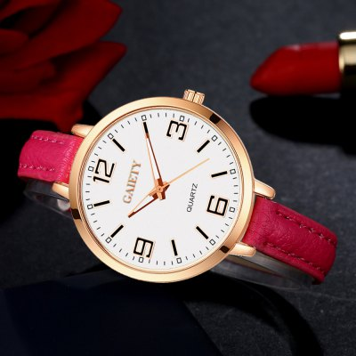 GAIETY G361 Women Watch Easy Read Leather Band Quartz WatchesWomens Watches<br>GAIETY G361 Women Watch Easy Read Leather Band Quartz Watches<br><br>Band material: PU<br>Band size: 21.5 x 1 CM<br>Case material: Metal<br>Clasp type: Pin buckle<br>Dial size: 3.5 x 3.5 x 0.7 CM<br>Display type: Analog<br>Movement type: Quartz watch<br>Package Contents: 1 x Watch<br>Package size (L x W x H): 24.00 x 4.00 x 1.00 cm / 9.45 x 1.57 x 0.39 inches<br>Package weight: 0.0260 kg<br>Product size (L x W x H): 21.50 x 3.50 x 0.70 cm / 8.46 x 1.38 x 0.28 inches<br>Product weight: 0.0240 kg<br>Shape of the dial: Round<br>Watch mirror: Mineral glass<br>Watch style: Childlike, Fashion, Casual<br>Watches categories: Women,Female table<br>Water resistance: No