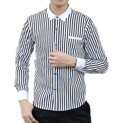 Man Big Code Vertical Striped Long Sleeved Thin Shirt