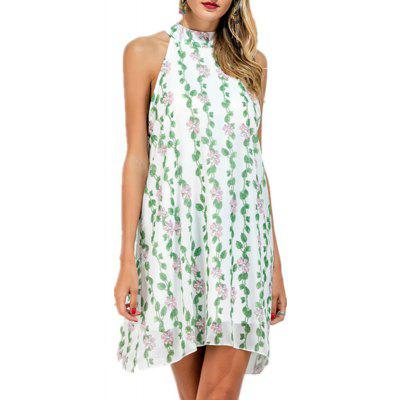 Buy LIGHT GREEN S Sleeveless Printed Chiffon A Dress for $33.12 in GearBest store