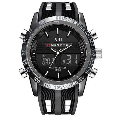 Men Watches Double Display Silicone Wrist Watch Top Brand Luxury Famous Sport Waterproof Watches