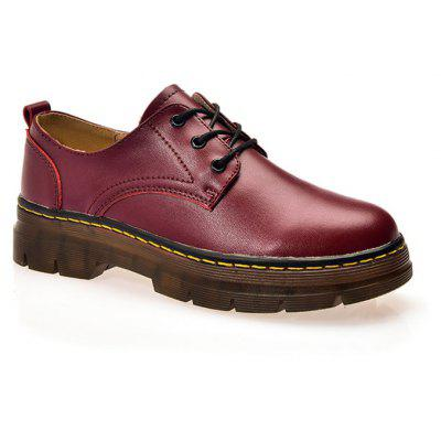 Leather Rubber Sole Muffin Thick Bottom Women Shoes