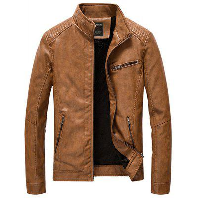 Leather Jackets Men PU Casual Thick Coats