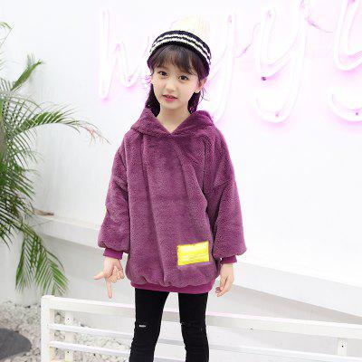 Girls Imitated Rabbit Plush Hooded Sweater with Letters girls letters sequin tee