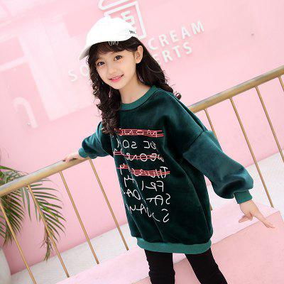 Autumn and Winter Children New Girls Monogrammed Shirt Sweater Cashmere Composite baby girls knitted sweater clothing dress 2017 autumn winter new long sleeve cute cartoon pattern girl dress children clothes
