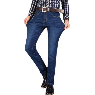 Buy Mens Straight Fit Stretch Denim Pants Large Size Trousers Casual Cowboys Man Jeans BLUE 38 for $27.88 in GearBest store