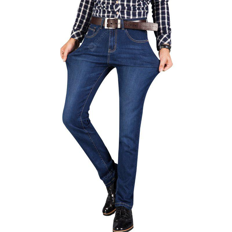 Mens Straight Fit Stretch Denim Pants Large Size Trousers Casual Cowboys Man Jeans BLUE 42