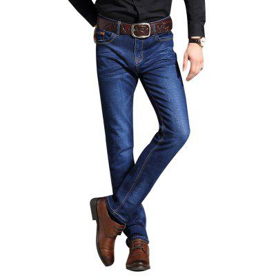 Men Slim Straight Fit Stretch Denim Jeans