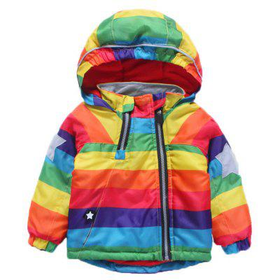 Boy'S Colour Striped Hooded Coat