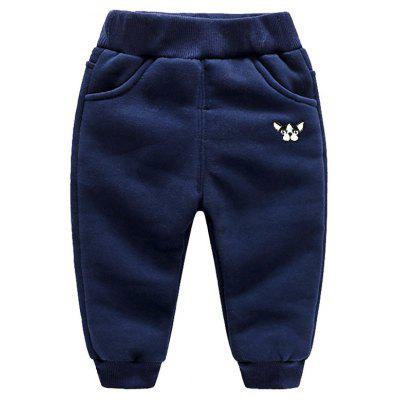 Boy'S Autumn and Winter with Velvet Cartoon Slacks