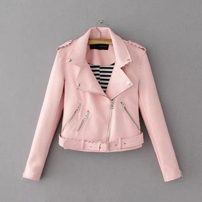 Women Basic PU Leather Short Motorcycle Jacket Zipper Pockets Sexy Punk Casual Outwear Tops