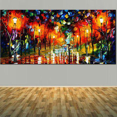 Buy Hand Painted Abstract Lovers Walk in The Rainy Night Palette Knife Landscape Oil Painting On Canvas Living Room Decor, COLORFUL, Home & Garden, Home Decors, Wall Art, Oil Paintings for $68.20 in GearBest store