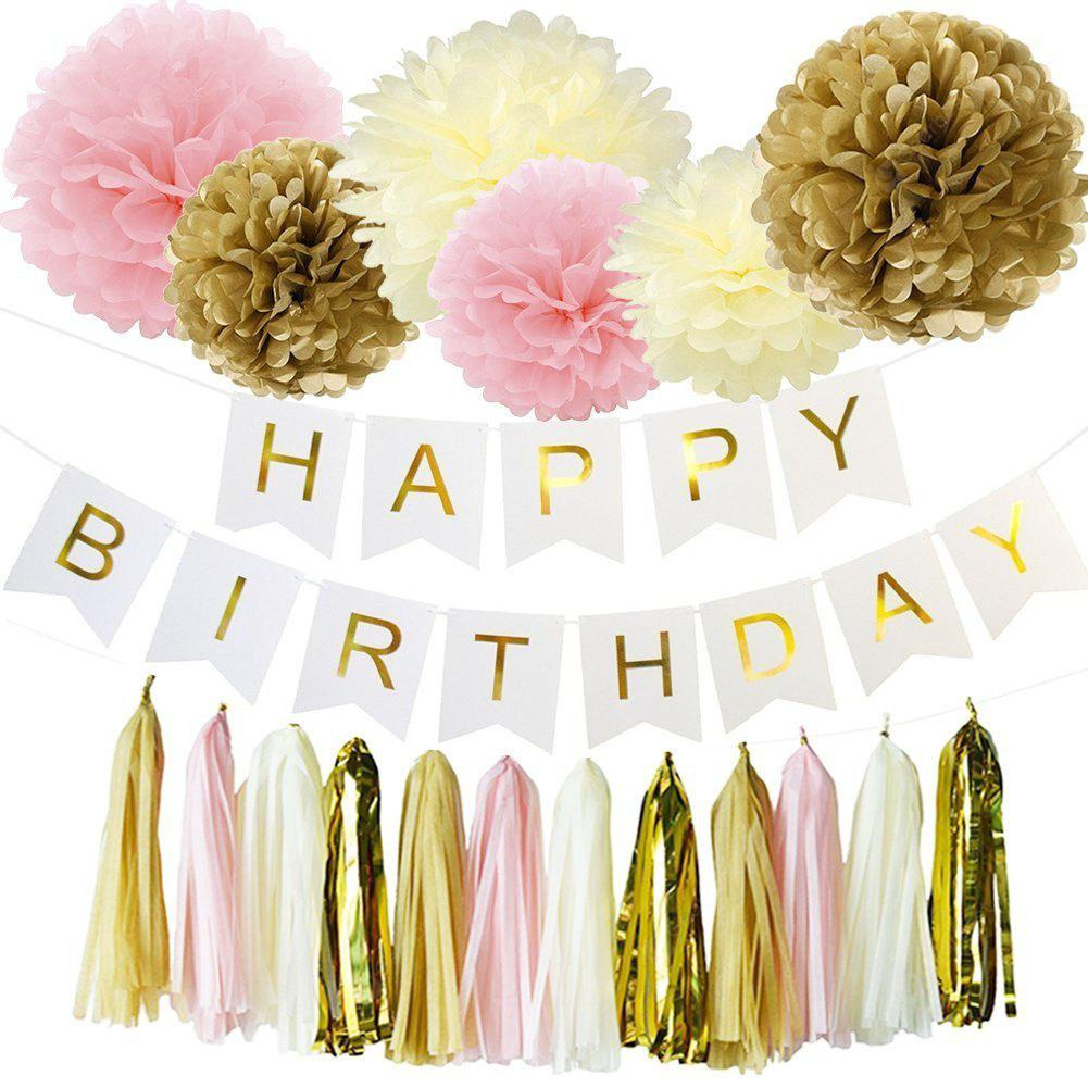 Eastern Hope 19pcs Happy Birthday Decorations Banner Hanging Tissue