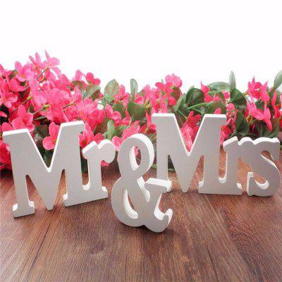 Buy Mr & Mrs Wooden Letters Sign Wedding Decoration Romantic Mariage Birthday Party Home Decor WHITE for $9.96 in GearBest store