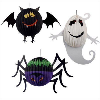 Eastern Hope 3PCS Paper Lanterns, Spider Bat Ghost Hanging Pendant Halloween Decorations Lanterns for Halloween Party Bars Decoration
