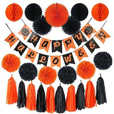 Halloween Party Decorations Banner Kit –Paper Fans, Paper Tassel, Paper Poms Poms , Paper Honeycomb Ball, Perfect Party Supplies