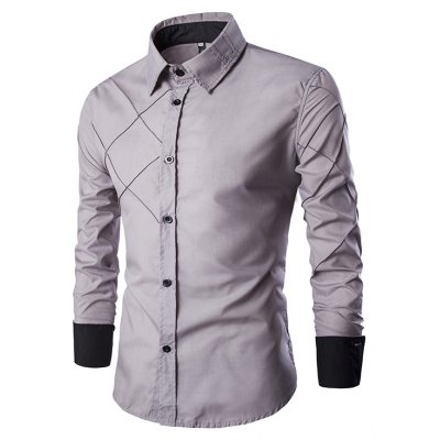 New Men'S Long-Sleeved Shirt Casual Plaid Design A Unique Personality Personalized Shirt