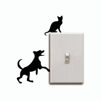 Cat-99 Creative Dog Chasing Cat Up The Light Switch StickerWall Stickers<br>Cat-99 Creative Dog Chasing Cat Up The Light Switch Sticker<br><br>Art Style: Plane Wall Stickers, Toilet Stickers<br>Color Scheme: Black<br>Effect Size (L x W): 7 x 12cm<br>Function: Decorative Wall Sticker<br>Layout Size (L x W): 7 x 12cm<br>Material: Vinyl(PVC)<br>Package Contents: 1 x Wall Sticker<br>Package size (L x W x H): 15.00 x 15.00 x 1.00 cm / 5.91 x 5.91 x 0.39 inches<br>Package weight: 0.0500 kg<br>Product size (L x W x H): 7.00 x 12.00 x 0.01 cm / 2.76 x 4.72 x 0 inches<br>Product weight: 0.0400 kg<br>Quantity: 1<br>Sizes: Others<br>Subjects: Fashion,Vintage,Others,Letter,Cute,Cartoon,Music,Famous,Romance<br>Suitable Space: Living Room,Hotel,Kids Room,Pathway,Kids Room,Boys Room,Girls Room,Game Room<br>Type: Plane Wall Sticker