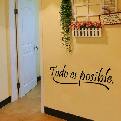 9221 Todo Es Posible Spanish Vinyl Quote Wall Stickers Motivational Kids Wall Decals Removable Sticker Home DecorWall Stickers<br>9221 Todo Es Posible Spanish Vinyl Quote Wall Stickers Motivational Kids Wall Decals Removable Sticker Home Decor<br><br>Art Style: Plane Wall Stickers, Toilet Stickers<br>Color Scheme: Black<br>Function: Decorative Wall Sticker<br>Material: Paper, Vinyl(PVC)<br>Package Contents: 1 x wall sticker, 1 x transfer sheet<br>Package size (L x W x H): 16.00 x 4.00 x 4.00 cm / 6.3 x 1.57 x 1.57 inches<br>Package weight: 0.0600 kg<br>Quantity: 1<br>Sizes: Others<br>Subjects: Letter,Leisure,Flower,Famous,Figure Painting,Words / Quotes<br>Suitable Space: Living Room,Bedroom,Office,Kids Room,Corridor,Kids Room,Study Room / Office<br>Type: Plane Wall Sticker