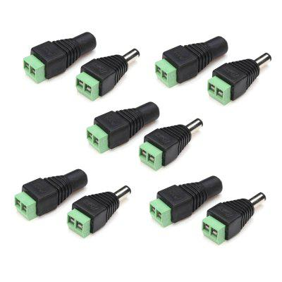 ZDM 5Pairs DC Power Male Female 5.5x2.1mm Connector Adapter Plug Cable Pressed for LED Strips 12V