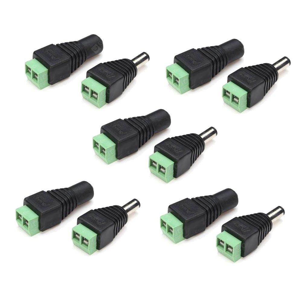 5Pairs DC Power Male Female 5.5x2.1mm Connector Adapter Plug Cable Pressed for LED Strips 12V
