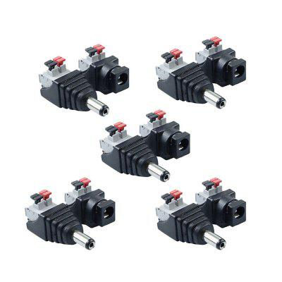 ZDM 5Pairs Intelligent Connection DC Power Male Female 5.5x2.1mm Connector Adapter Plug Cable Pressed for LED Strips 12V