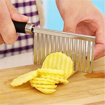 Stainless Steel Potato Wavy Edged Knife Gadget Vegetable Fruit Cutter Peeler