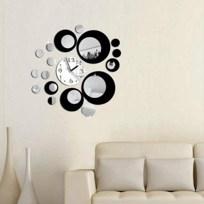 Acrylic Wall Clock with Diy Circles Mirror Wall Stickers for Home Decoration
