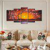 YHHP 5 Panels Hd Print Wall Art Plum Blossom - RED WITH BLACK