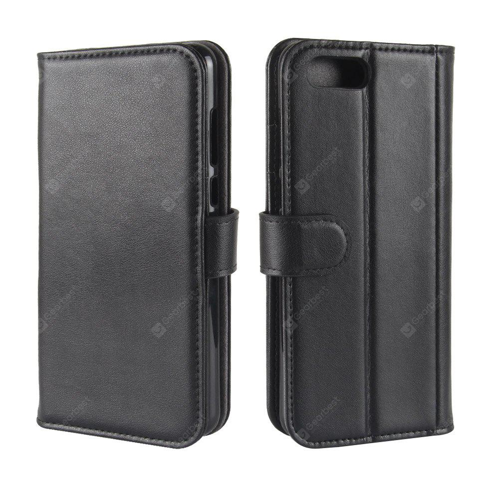 Solid Color Real Cow Leather Wallet Style Front Buckle Flip Case with Card Slots for Huawei Honor V10