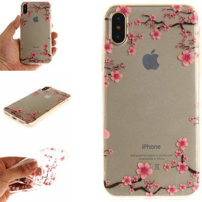 Cover Case for IPhone X Up and Down The Plum Blossom Soft Clear IMD TPU Phone Casing Mobile Smartphone