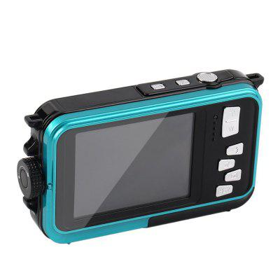 Buy Digital Camera Waterproof 24MP MAX 1080P Dual Screen Digital 16X Zoom Camcorder BLUE for $101.27 in GearBest store