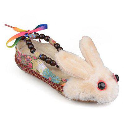 Autumn and Winter The New Folk Wind Lovely Rabbit Oxford Flat-soled Single Shoes