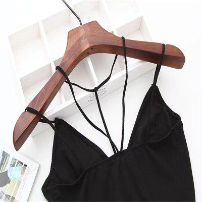 Woman Hang Neck Condole Belt Bra UndergarmentLingerie &amp; Shapewear<br>Woman Hang Neck Condole Belt Bra Undergarment<br><br>Bra Style: Padded, Plunge<br>Closure Style: None<br>Cup Shape: Three Quarters(3/4 Cup)<br>Embellishment: None<br>Materials: Cotton<br>Package Contents: 1 x Bra<br>Pattern Type: Solid<br>Strap Type: Halter<br>Style: Sexy<br>Support Type: Wire Free<br>Weight: 0.1000kg