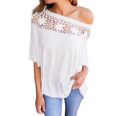 T-shirt casual in pizzo patchwork