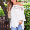Patchwork Lace Casual T-Shirt - WHITE