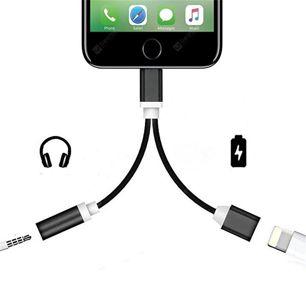 2 in 1 audio adapter 8 pin 2 to aux headphone jack. Black Bedroom Furniture Sets. Home Design Ideas