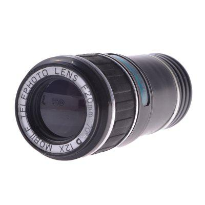 Universal Phone Camera Lens 12 Times Phone Telescope With Clip Black