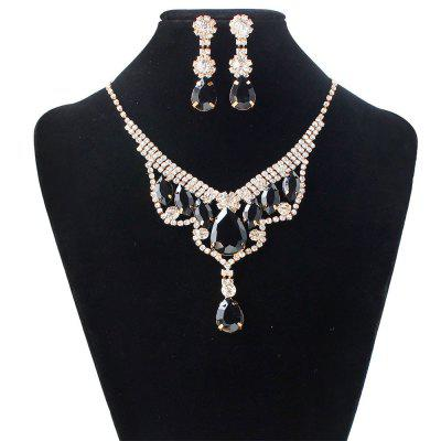 Women Luxury Necklace Earrings Set Diamond Crown Pendants Choker Collar Bride Jewelry Set Gifts