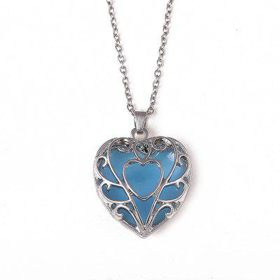Mulheres Meninas Night Light Heart Pendants Colar Diamond Metal Choker Fashion Jewelry